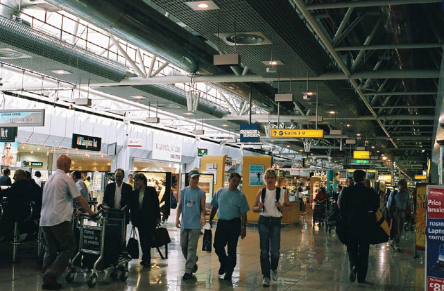 British airport from 2003 –looking dismal and busy