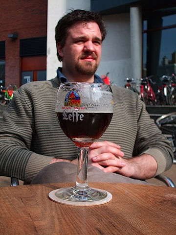 photo of me with leffe in Amsterdam