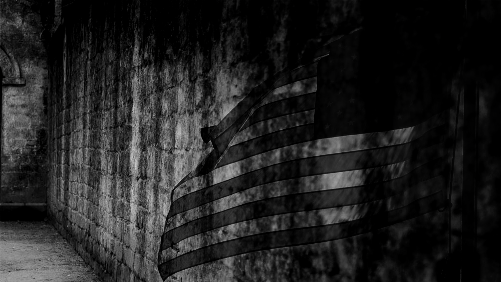 image of flag burned onto a crumbling stone wall